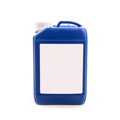 blue plastic jerry can isolated on a white background