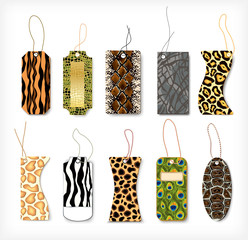 Set of tags with a structure  animals. Vector