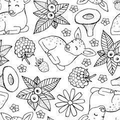Seamless doodle pattern with cute deer, fox, flowers and berries. Children illustration