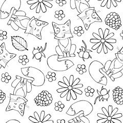 Seamless doodle pattern with cute fox, flowers and berries. Children illustration