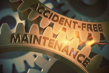 Accident-Free Maintenance on Golden Gears. 3D Illustration.