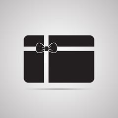 Векторная иллюстрация иконка простой символ плоский для веб подарочный сертификат карточка с бантиком card