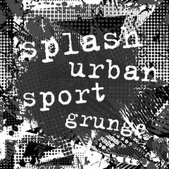 Paint stroke copy space on abstract urban pattern. Grunge texture background. Scuffed drop sprays, dots, splash. Urban modern dirty dark wallpaper. Fashion textile, sport fabric. Black white.