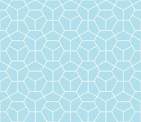 Abstract geometry blue deco art hexagon pattern