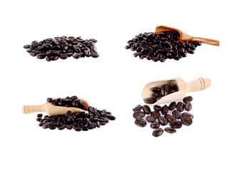 coffee beans in  scoop isolated on white background