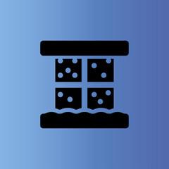 window and snow icon. flat design