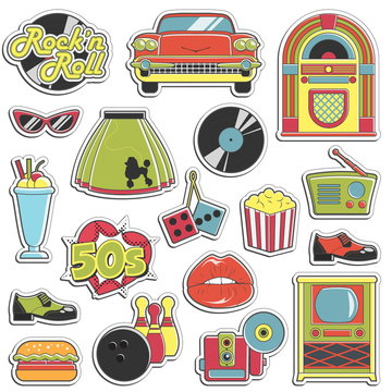 Vintage 1950s retro style stickers set