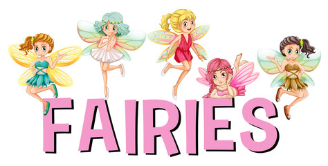 Five fairies flying over the word