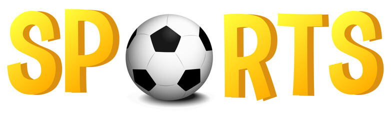 Font design with word sports with soccer ball