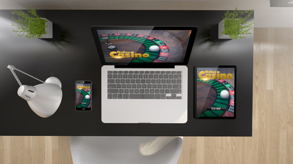 black office top view casino online