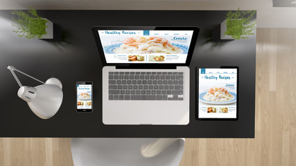black office top view healthy recipes