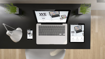 black office top view we design