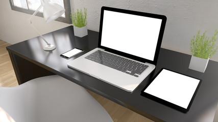 black desktop devices