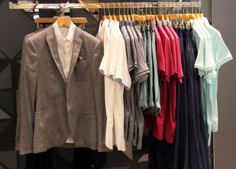 Men's clothing in store