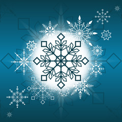 Gorgeous Christmas snowflake decoration vector illustration with blue background. Beautiful Happy  New Year card. Perfect for web design, greeting card, wrapping paper, textile.