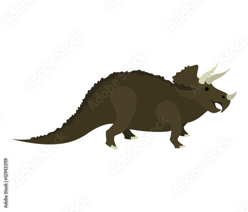 colorful cartoon with dinosaur triceratops vector illustration