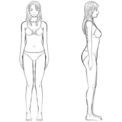 Vector illustration woman body front and side view in outline