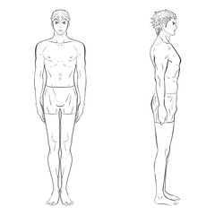 Vector illustration template of men's figure. Front, side views. Silhouettes