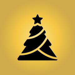 christmas tree icon. flat design