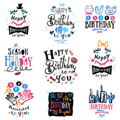 Set of birthday logo, labels and illustrations. Elements for handmade design, pictures on the birthday theme