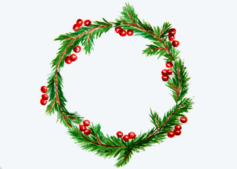 New year and Christmas wreath - fir tree and mistletoe on white