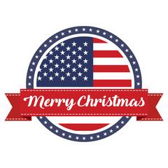 USA flag stamp with ribbon Merry Christmas. Vector illustration