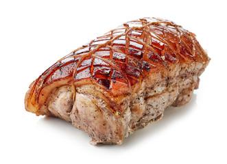 roasted pork on white background
