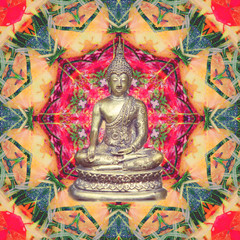 Buddha statue sitting in lotus in abstract mandala picture