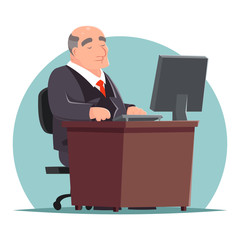 Old Adult Businessman Work Computer Table Character Icon Retro Cartoon Design Vector Illustration
