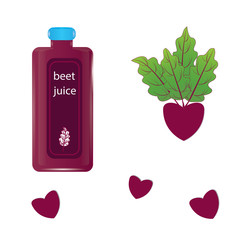 beet juice in a glass bottle and beetroot with tops isolated on white background vector