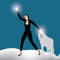 white wolf girl fire in hands snow blue background art abstract creative modern vector illustration