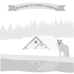 white wolf winter landscape house wood river art creative abstract modern vector illustration Travel Poster