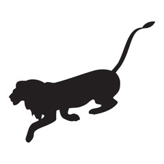 Lion silhouette black isolated white background art abstract creative modern vector