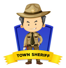 Occupation wordcard with town sheriff
