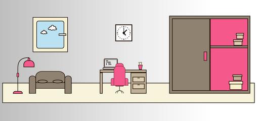 Room interior, pink сolour