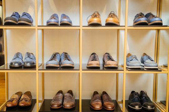 Luxury Shoes.  Shoes on a shelf in a store cupboard, wardrobe