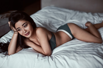 Portrait of a beautiful sensual asian woman in underwear