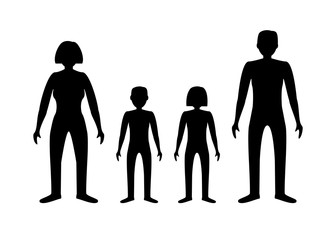 Family silhouettes image: boy, girl, man and woman. Father, mother, son and daughter. Black on white background. The stock vector.