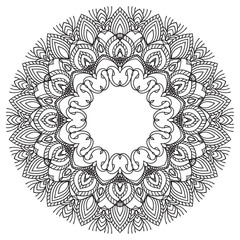 Hand drawing zentangle frame. Black and white. Flower mandala.