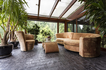 Comfortable lounge set in conservatory