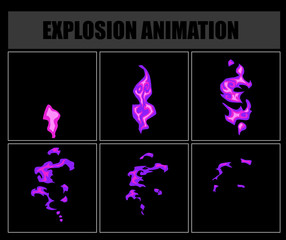 Fire animation sprites, vector flame video frames for game design