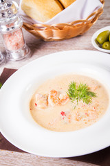 soup cream with seafood