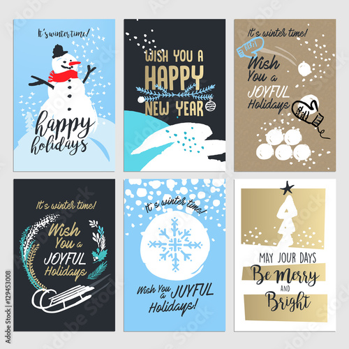 Christmas and new year greeting card concepts set od flat design christmas and new year greeting card concepts set od flat design vector illustrations for greeting m4hsunfo
