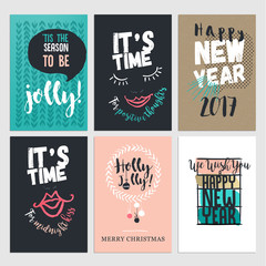 Flat design Christmas and New Year greeting cards. Set of hand drawn vector illustrations.