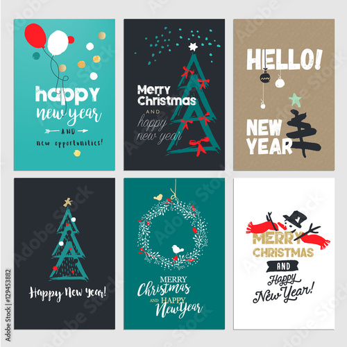 New year and christmas greeting cards collection flat design vector new year and christmas greeting cards collection flat design vector illustration concepts for greeting cards m4hsunfo