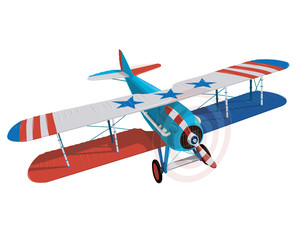 Biplane from World War with colors of flag of United States. Model aircraft propeller with two wings. Old retro aircraft designed for poster. Beautifully and realistically vector flying biplane.