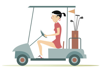 Woman in the golf cart. Pretty young woman is going to play golf in the golf cart