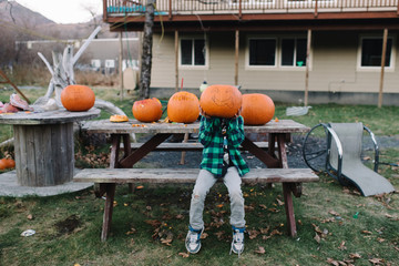 Boy sitting on picnic bench, holding pumpkin in front of face
