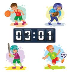 Set icons of boys playing basketball, football, baseball, scoreboard