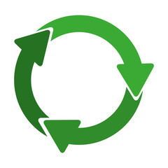 green circular recycling symbol shape with arrows vector illustration